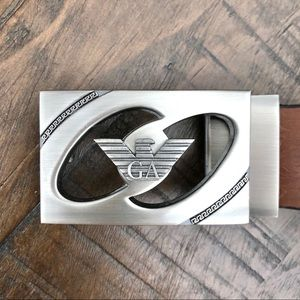 Giorgio Armani Belt Buckle with Faux Leather Belt
